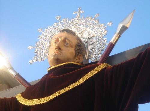 Detalle de la imagen del santo en su localidad natal.