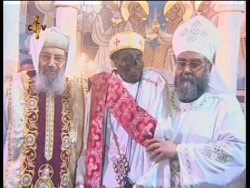 Reliquias del santo en la catedral de la Virgen María de Damietta, Egipto.