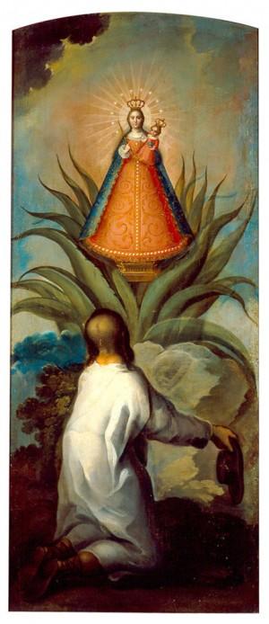 """El hallazgo de la Virgen de los Remedios"", óleo/tela, anónimo novohispano, siglo XVIII,Pinacoteca de la Profesa de San Felipe Neri, México, D.F."