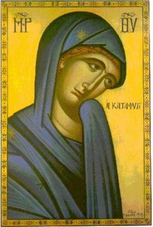 """Icono ortodoxo griego de la Virgen Katafgi (""""el Refugio""""), donde aparece orando con el brazo cubierto por su velo."""