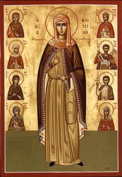 Icono ortodoxo griego de Santa Fotina y compañeros mártires.