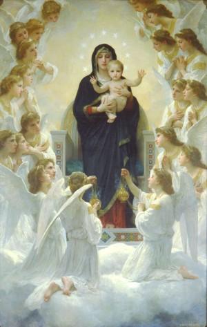 """""""Virgen con ángeles"""", lienzo de William Adolphe Bouguereau (1900). Petit Palais, París (Francia)."""