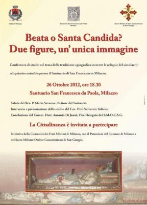 Cartel de la conferencia dada en Milazzo sobre la mártir de las catacumbas.