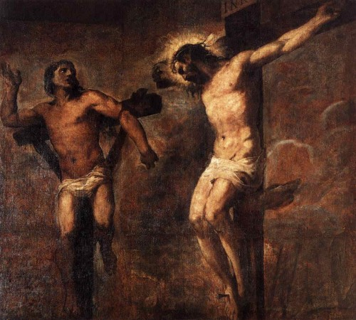 """""""Cristo y el Buen Ladrón"""", óleo de Tiziano Vecellio."""