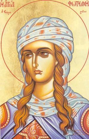 """Icono ortodoxo griego de Santa Fotina, """"la Samaritana""""."""