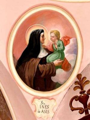 Aparición del Niño Jesús a la Santa. Fresco contemporáneo.