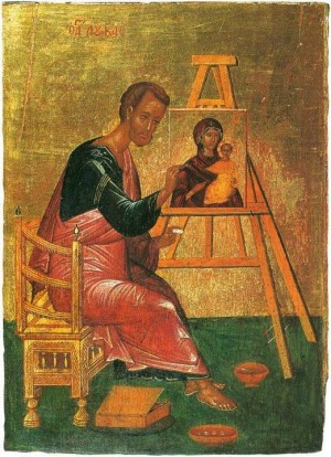 Icono ortodoxo griego de San Lucas pintando a la Panagia Hodigitria.