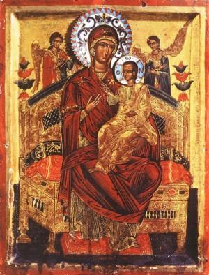 Icono ortodoxo griego de la Virgen Pantanassa (variante una Panachranta).