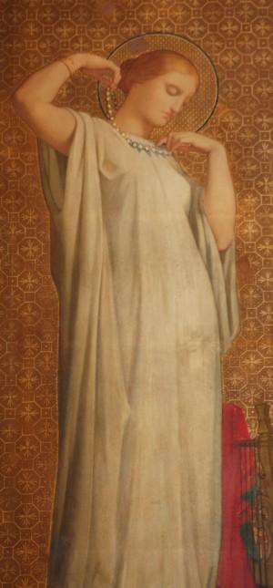 Pelagia se desprende de sus joyas y adornos. Detalle de la procesión de los Santos de Hyppolite Flandrin. Iglesia de San Vicente de Paúl, París (Francia).