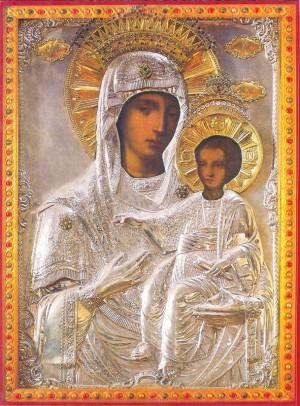 Icono ortodoxo griego de la Virgen, recubierto de plata, venerado en la skete de Prodromos, Monte Athos (Grecia).