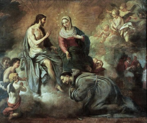 """Jesús concede a san Francisco la indulgencia de la Porciúncula"", lienzo de Antoni Viladomat (1722-24), MNAC, Barcelona (España)."