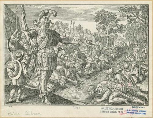 Gedeón selecciona a los 300 combatientes. Grabado de Christian Eduard Böttcher.