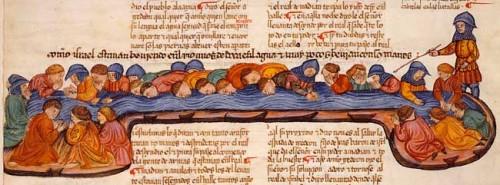 Gedeón selecciona a los 300 en la fuente de Midrash. Biblia Alba de 1430.