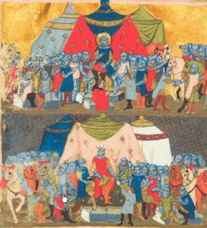 San Wenceslao y Enrique I. Fracción de París de la traducción latina de las crónicas de Dalimil.