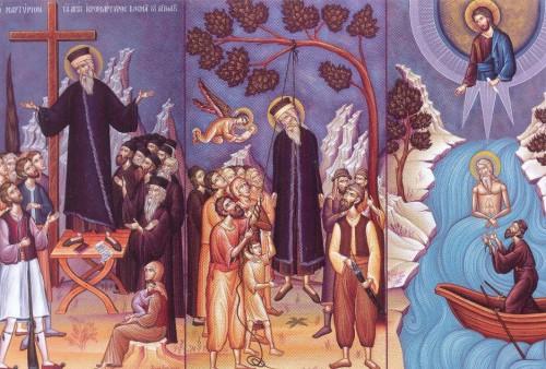Vida y martirio del Santo. Fresco ortodoxo griego.