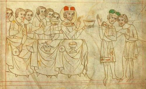Escena del brindis. Biblia de Velislav.