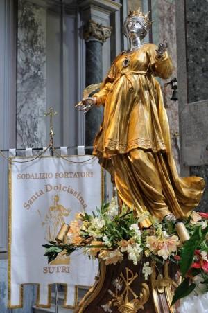 Imagen-relicario procesional de la Santa, atribuida al taller de Gian Lorenzo Bernini. Catedral de Santa Maria Assunta, Sutri (Italia).