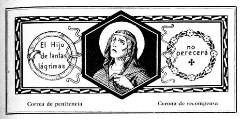"""Membrete de la Santa con la frase de San Agustín. Ilustración de JMB para """"El Santo de Cada Día"""", editado por Edelvives (1960)."""