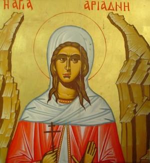 Icono ortodoxo griego de la Santa. Obsérvese la montaña abriéndose para acogerla.