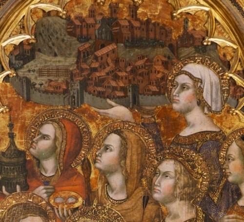 Santa Antilia consagrando la ciudad de Montepulciano a la Virgen. Detalle del tríptico de Taddeo di Bartolo, catedral de Montepulciano (Italia).