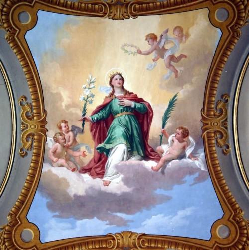 Gloria de la Santa. Fresco de Luigi Fontana. Catedral de Santa Maria Assunta, Sutri (Italia).