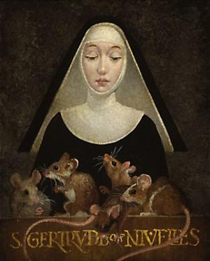 Ilustración contemporánea de Santa Gertrudis de Nivelles.