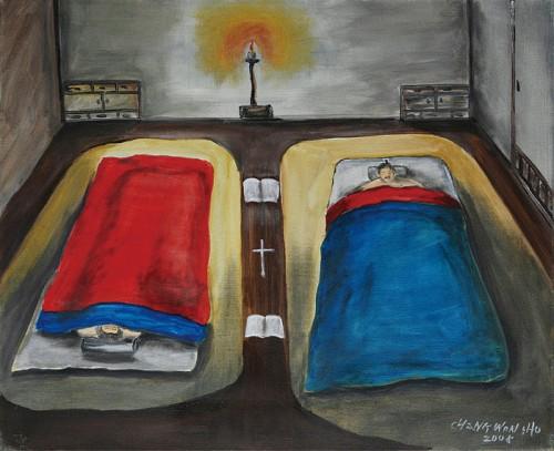 Los Beatos Juan y Lutgarda durmiendo en futones separados por la Biblia y un crucifijo, y con la luz encendida, para evitar tentaciones carnales. Ilustración contemporánea.
