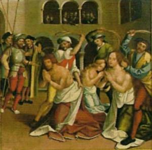 Los Santos son azotados. Tabla de Fernández García (1530), Museo Carlos Machado, Ponta Delgada, Azores (Portugal).