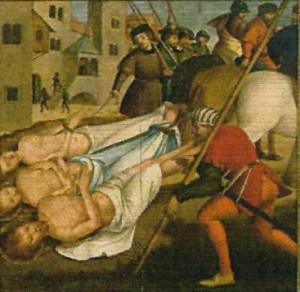 Los Santos son arrastrados por caballos. Tabla de Fernández García (1530), Museo Carlos Machado, Ponta Delgada, Azores (Portugal).