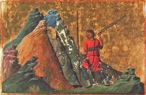 La Santa, fusionándose con las rocas de la montaña. Iluminación del Menologio de Basilio II (s.XI). Biblioteca Apostolica Vaticana, Roma (Italia).