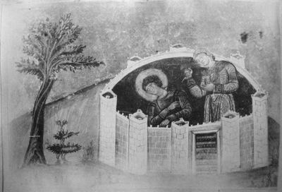 Martirio de la Santa. Iluminación del Menologio de Basilio II (s.X). Biblioteca Apostolica Vaticana, Roma (Italia).