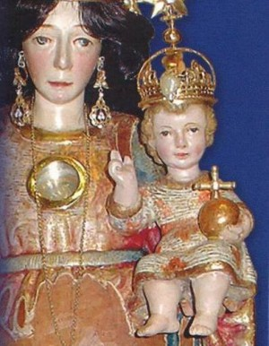 Detalle del busto de la imagen. Oropesa del Mar, Castellón (España).