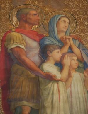 Detalle de la familia de mártires en la procesión de los Santos de Hyppolite Flandrin. Iglesia de San Vicente de Paúl, París (Francia).