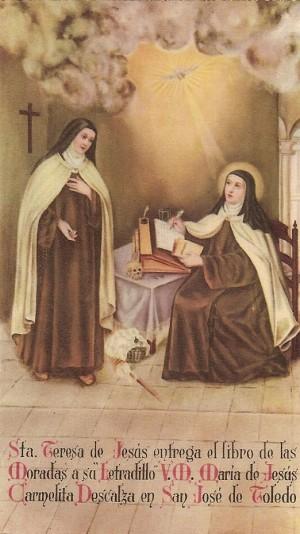 La Beata junto a Santa Teresa de Ávila. Estampa devocional.