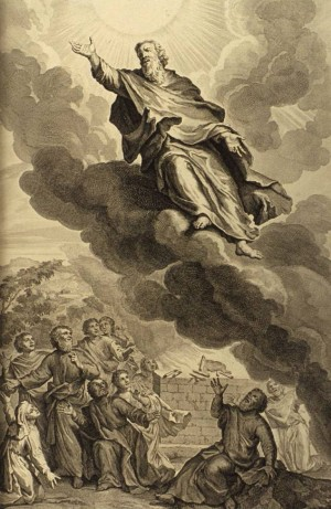 Dios se lleva a Enoc al cielo. Grabado de Gerard Hoet.