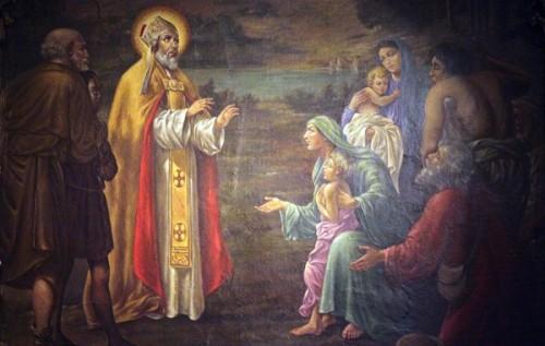 Pintura del Santo en la catedral de York (Gran Bretaña).