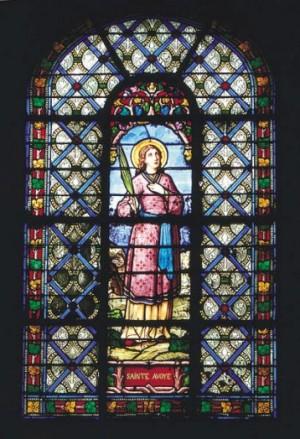 Vidriera decimonónica de Santa Avia. Iglesia de San Nicolás, Meulan (Francia).
