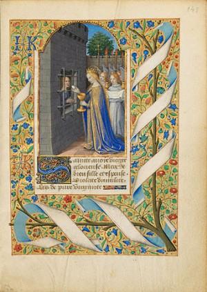 Santa Avia, en prisión, es alimentada con la Eucaristía por la Virgen María. Iluminación de Jean Bourdichon. Tours, 1480-85. MS. 6, FOL. 143.