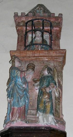 Santa Avia socorrida en prisión por la Virgen María y un ángel. Grugny, Francia.