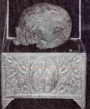 Relicario con el cráneo del Santo.