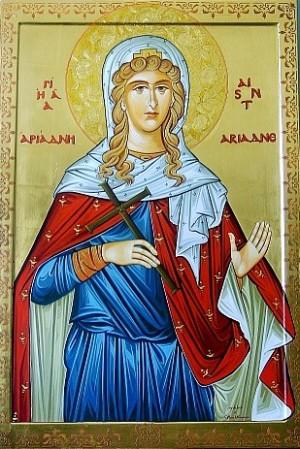 Icono ortodoxo de Santa Ariadna, desdoblamiento de Santa María la Esclava. Iglesia Ortodoxa de San Basilio, Houston, EEUU.