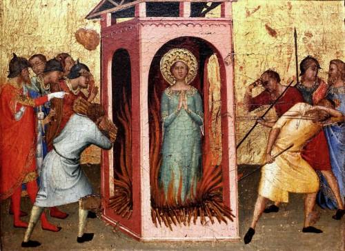 La Santa en el honoro. Tabla gótica de Bernardino Daddi (s.XIV). Florencia, Italia.