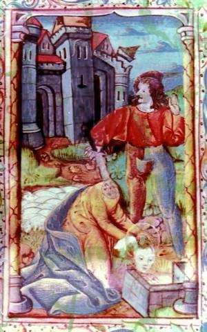 Santa Libaria lavando su cabeza en la fuente. Iluminación de las Horas de Langres.
