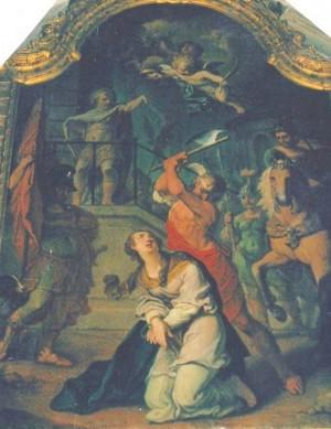 Martirio de Santa Libaria. Lienzo de J. Senemont (1777). Iglesia de la Santa en Rambervillers, Francia.