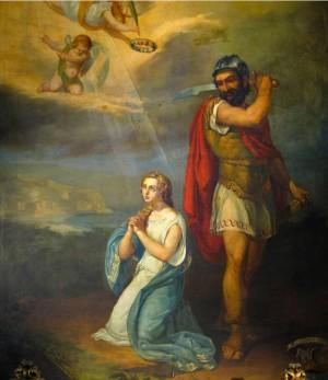 Martirio de la Santa. Lienzo decimonónico de Hércule Trachel. Catedral de Niza, Francia.