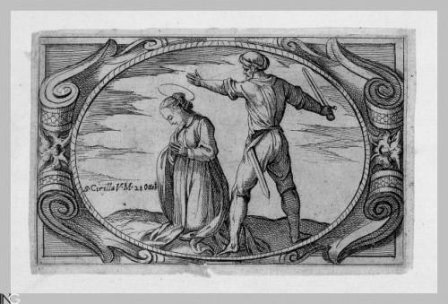 """Martirio de Santa Cirila. Grabado de Antonio Tempesta para """"Istoria de monte sante vergini romane nel martirio"""". Istituto Nazionale dell'Arte Grafica, Roma (Italia)."""