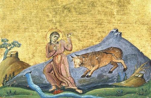 Martirio de Santa Trifenia. Iluminación del Menologio de Basilio II (s.X). Biblioteca Apostolica Vaticana, Roma (Italia).