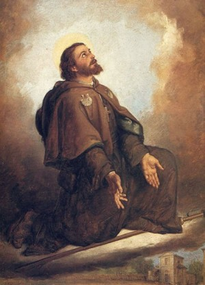 Lienzo del Santo en su hábito de peregrino.