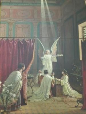 Tiburcio espía a Cecilia y Valeriano y contempla la aparición del Ángel. Pintura contemporánea en la iglesia de Santa Cecilia de Sao Paulo, Brasil.