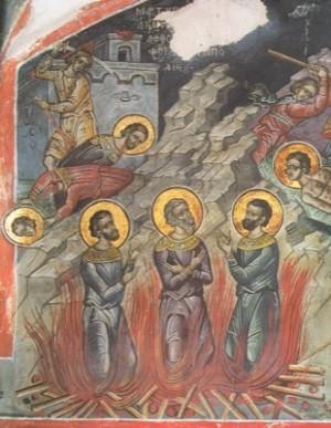 Mural del martirio de los Santos. Año 1547. Monasterio Dionysiou, Monte Athos, Grecia.
